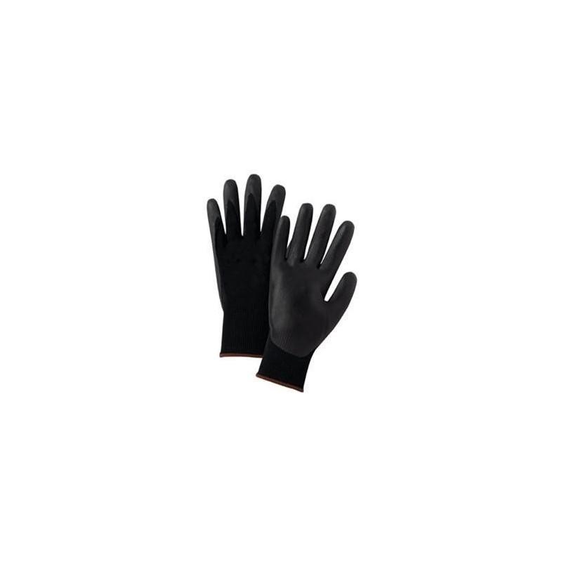 Nailoninės pirštinės aplietos poliuretanu, juodos